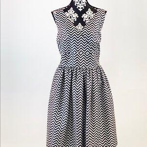 Halogen Chevron Print Black and White Dress